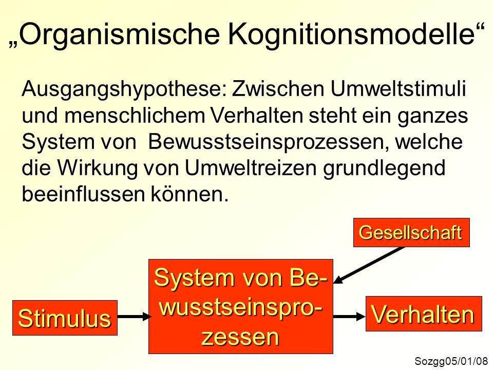 Organismische Kognitionsmodelle Sozgg05/01/08 Ausgangshypothese: Zwischen Umweltstimuli und menschlichem Verhalten steht ein ganzes System von Bewusst