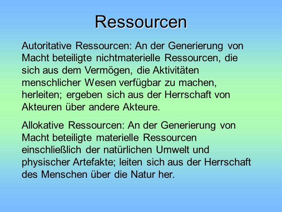 Ressourcen Autoritative Ressourcen: An der Generierung von Macht beteiligte nichtmaterielle Ressourcen, die sich aus dem Vermögen, die Aktivitäten men