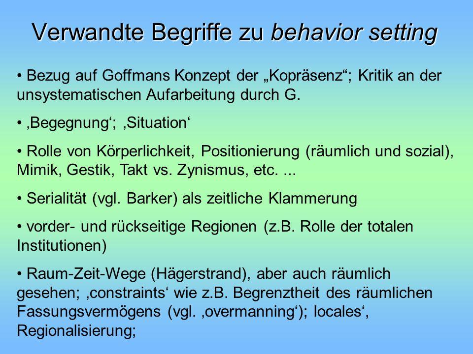 Verwandte Begriffe zu behavior setting Bezug auf Goffmans Konzept der Kopräsenz; Kritik an der unsystematischen Aufarbeitung durch G. Begegnung; Situa