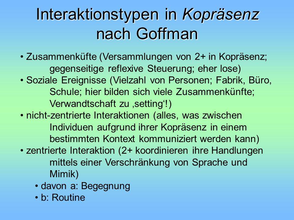 Interaktionstypen in Kopräsenz nach Goffman Zusammenküfte (Versammlungen von 2+ in Kopräsenz; gegenseitige reflexive Steuerung; eher lose) Soziale Ere