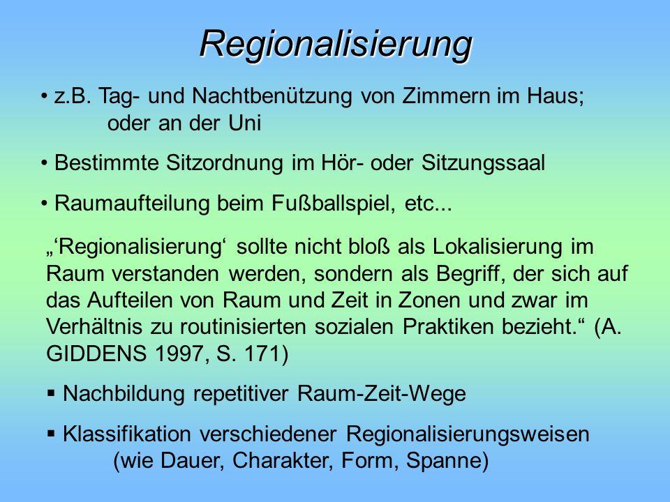 Regionalisierung Regionalisierung sollte nicht bloß als Lokalisierung im Raum verstanden werden, sondern als Begriff, der sich auf das Aufteilen von R