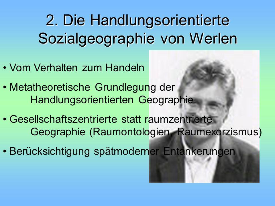 2. Die Handlungsorientierte Sozialgeographie von Werlen Vom Verhalten zum Handeln Metatheoretische Grundlegung der Handlungsorientierten Geographie Ge