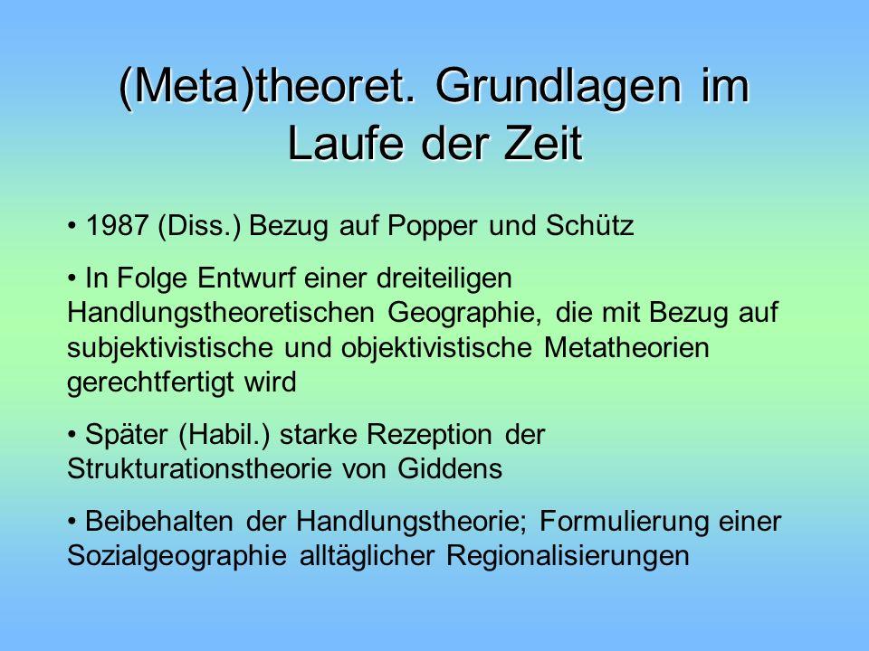 (Meta)theoret. Grundlagen im Laufe der Zeit 1987 (Diss.) Bezug auf Popper und Schütz In Folge Entwurf einer dreiteiligen Handlungstheoretischen Geogra