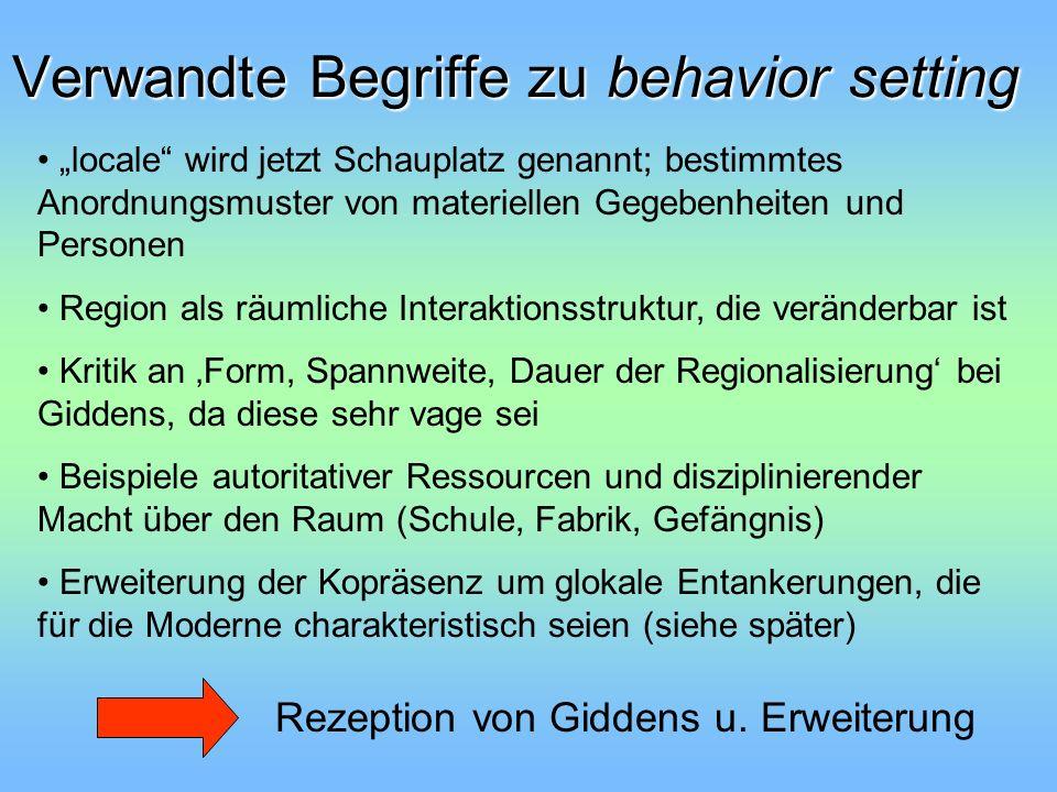 Verwandte Begriffe zu behavior setting Rezeption von Giddens u. Erweiterung locale wird jetzt Schauplatz genannt; bestimmtes Anordnungsmuster von mate