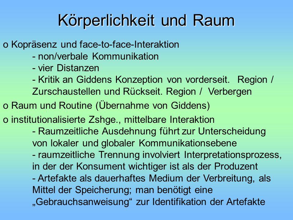 Körperlichkeit und Raum o Kopräsenz und face-to-face-Interaktion - non/verbale Kommunikation - vier Distanzen - Kritik an Giddens Konzeption von vorde