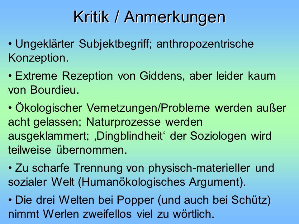 Kritik / Anmerkungen Ungeklärter Subjektbegriff; anthropozentrische Konzeption. Extreme Rezeption von Giddens, aber leider kaum von Bourdieu. Ökologis