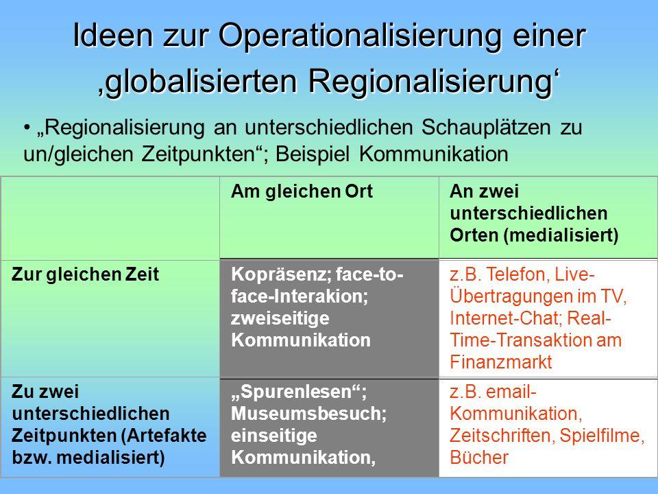 Ideen zur Operationalisierung einer globalisierten Regionalisierung Regionalisierung an unterschiedlichen Schauplätzen zu un/gleichen Zeitpunkten; Bei