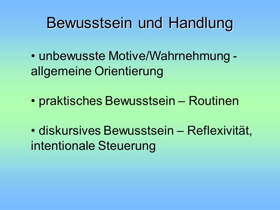 Bewusstsein und Handlung unbewusste Motive/Wahrnehmung - allgemeine Orientierung praktisches Bewusstsein – Routinen diskursives Bewusstsein – Reflexiv