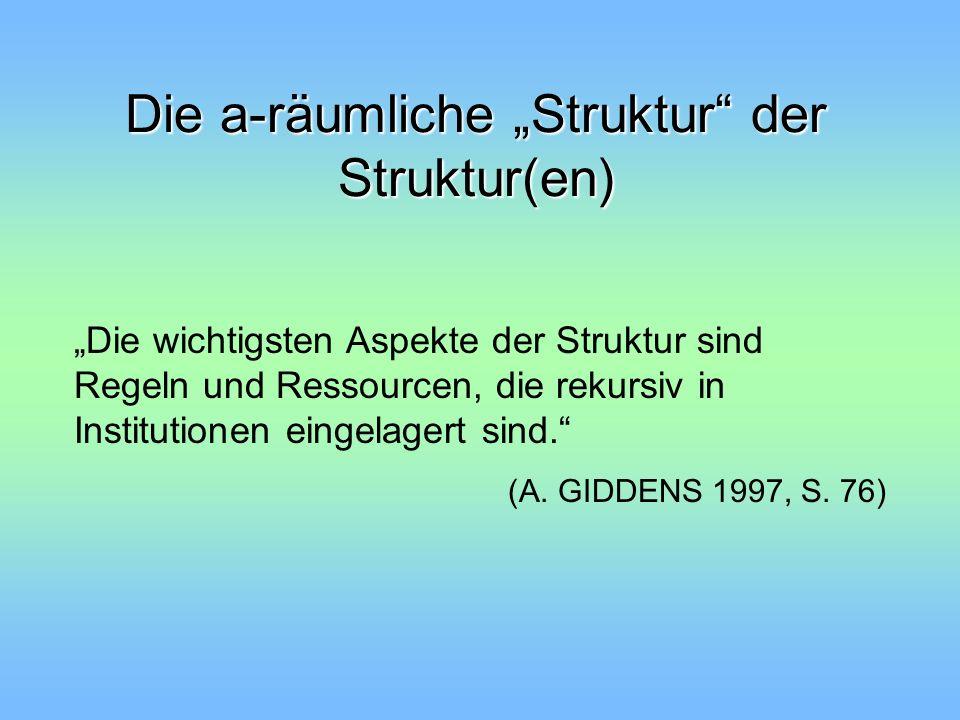 Die a-räumliche Struktur der Struktur(en) Die wichtigsten Aspekte der Struktur sind Regeln und Ressourcen, die rekursiv in Institutionen eingelagert s