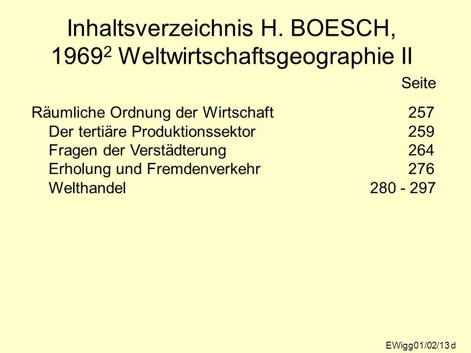 EWigg01/02/13 d Inhaltsverzeichnis H. BOESCH, 1969 2 Weltwirtschaftsgeographie II Seite Räumliche Ordnung der Wirtschaft257 Der tertiäre Produktionsse