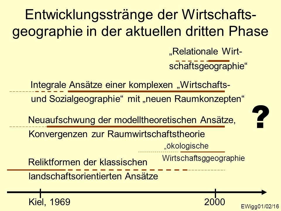 Entwicklungsstränge der Wirtschafts- geographie in der aktuellen dritten Phase EWigg01/02/16 Kiel, 19692000 Reliktformen der klassischen landschaftsor