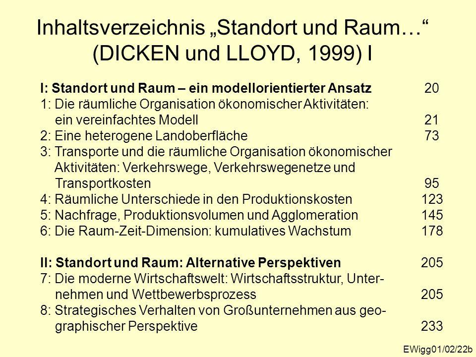 Inhaltsverzeichnis Standort und Raum… (DICKEN und LLOYD, 1999) I EWigg01/02/22b I: Standort und Raum – ein modellorientierter Ansatz 20 1: Die räumlic