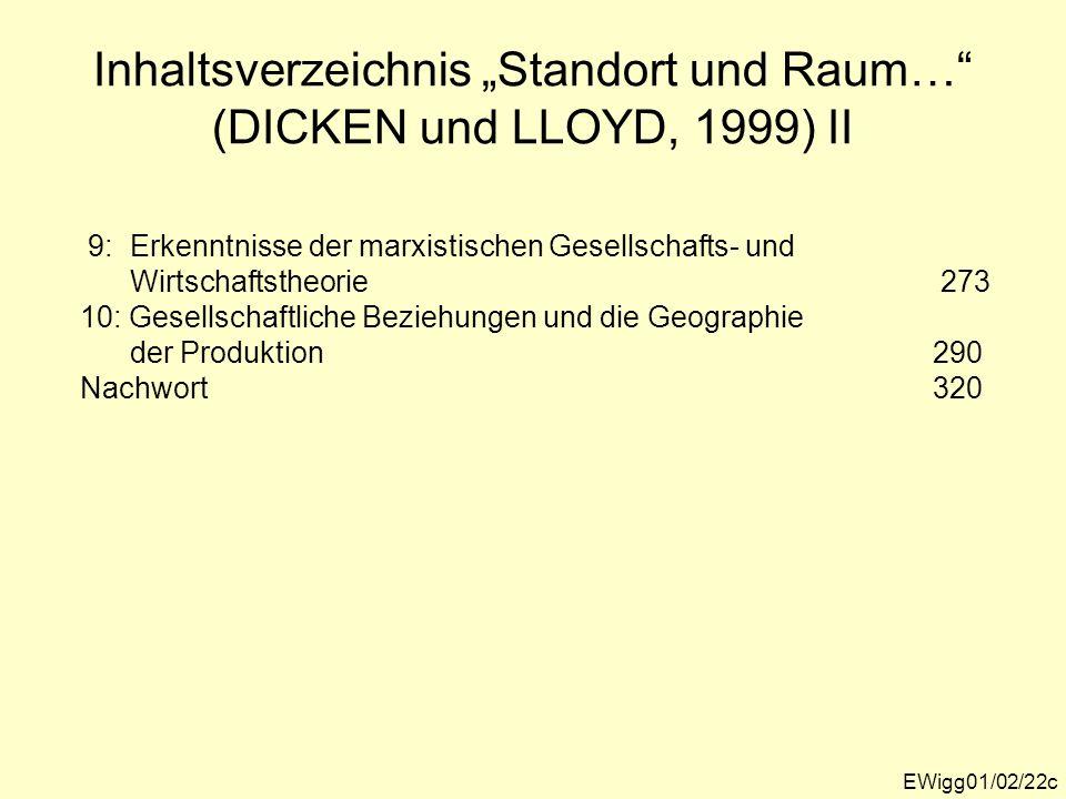 Inhaltsverzeichnis Standort und Raum… (DICKEN und LLOYD, 1999) II EWigg01/02/22c 9: Erkenntnisse der marxistischen Gesellschafts- und Wirtschaftstheor
