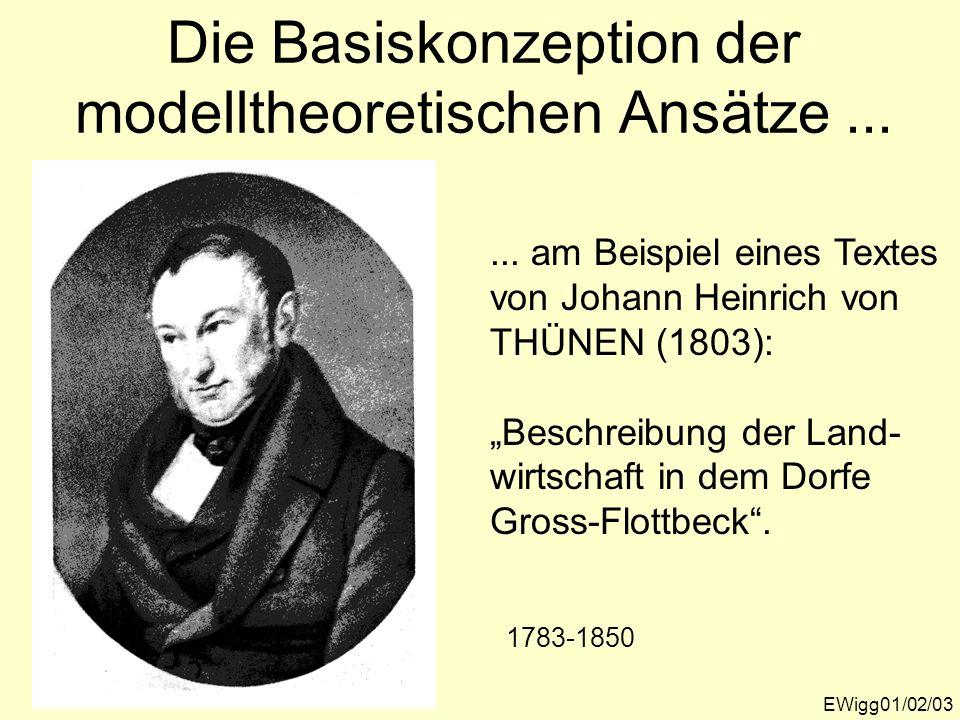 Die Basiskonzeption der modelltheoretischen Ansätze... EWigg01/02/03... am Beispiel eines Textes von Johann Heinrich von THÜNEN (1803): Beschreibung d