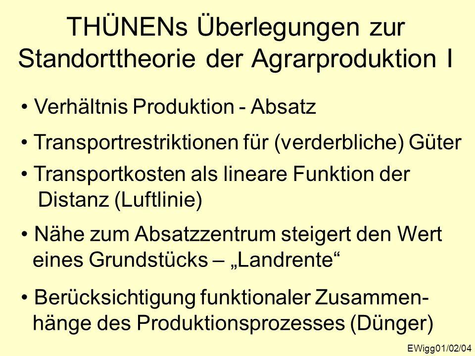 THÜNENs Überlegungen zur Standorttheorie der Agrarproduktion I EWigg01/02/04 Verhältnis Produktion - Absatz Transportrestriktionen für (verderbliche)