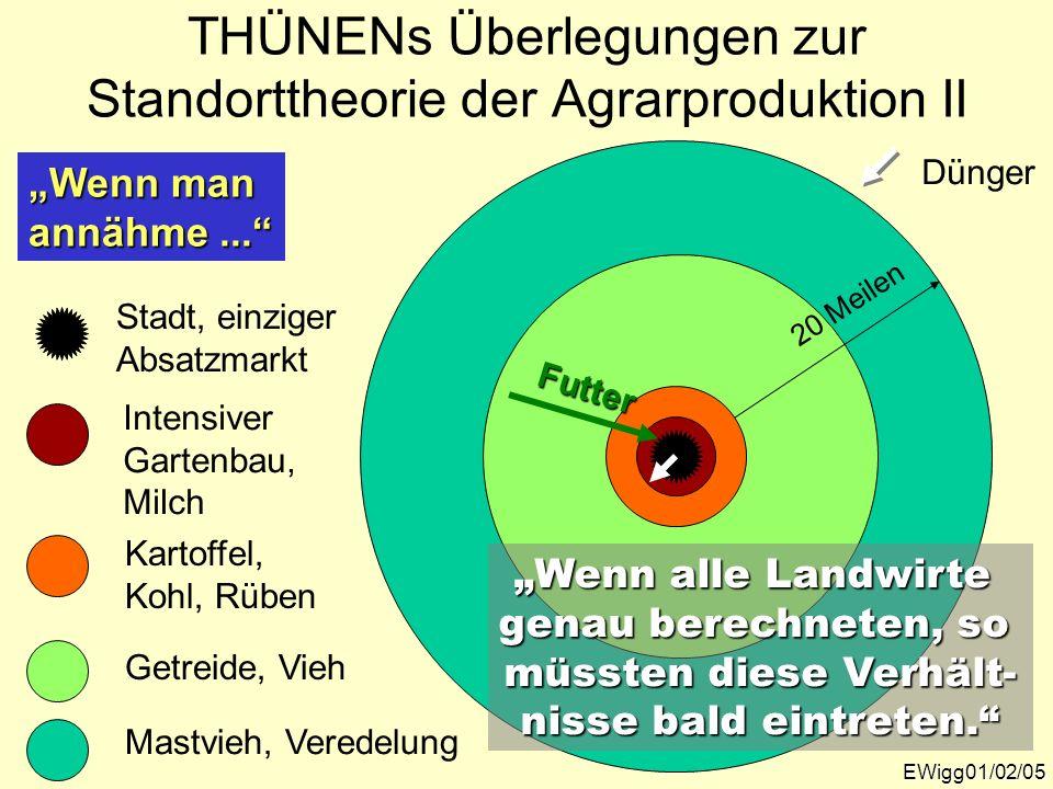 Getreide, Vieh 20 Meilen EWigg01/02/05 THÜNENs Überlegungen zur Standorttheorie der Agrarproduktion II Wenn man annähme... Kartoffel, Kohl, Rüben Inte
