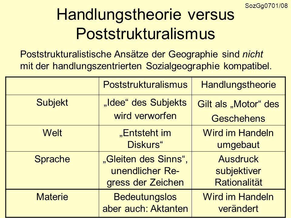 Diskurstheorie und Dekonstruktion Poststrukturalistische und kulturalistische Ansätze in der Geographie beziehen sich meist auf die Dis- kurstheorie von M.
