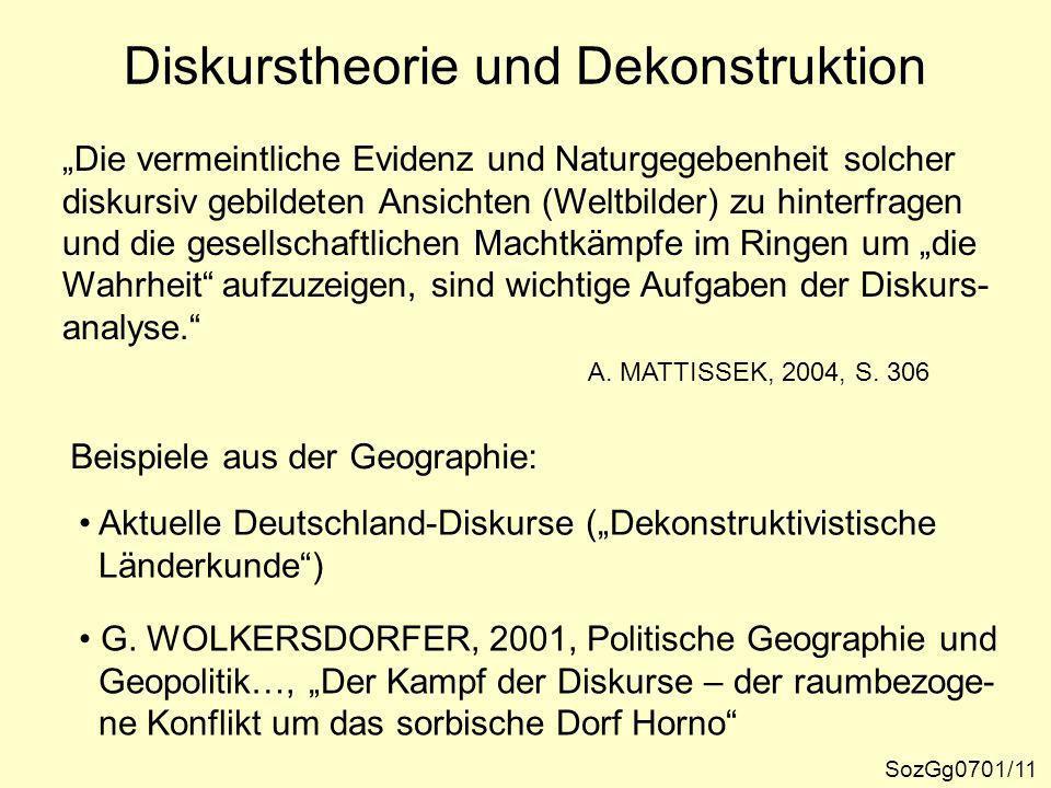 Diskurstheorie und Dekonstruktion In den deutschsprachigen Geistes- und Sozialwissenschaften lassen sich vereinfachend zwei Entwicklungsstränge der Dis- kursanalyse unterscheiden.