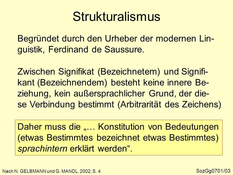 Strukturalismus Beim System Sprache sind … die Differenzen zwischen den Einzelgliedern für die Konstitution des Sinns das Wichtigste …, nicht die Einzel- glieder selbst.