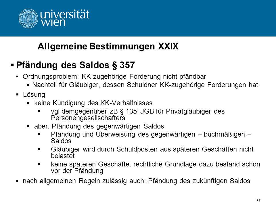 37 Allgemeine Bestimmungen XXIX Pfändung des Saldos § 357 Ordnungsproblem: KK-zugehörige Forderung nicht pfändbar Nachteil für Gläubiger, dessen Schul