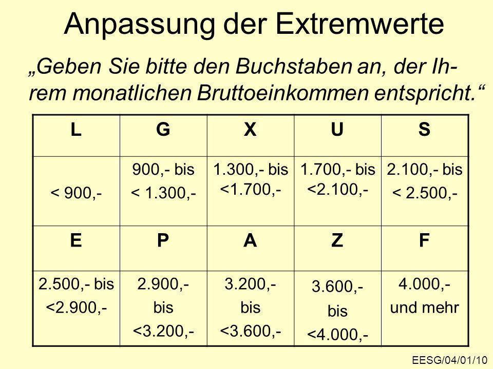 EESG/04/01/10 Anpassung der Extremwerte Geben Sie bitte den Buchstaben an, der Ih- rem monatlichen Bruttoeinkommen entspricht.