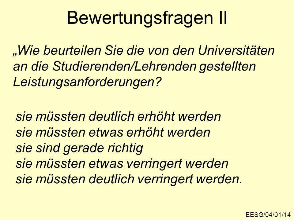 EESG/04/01/14 Bewertungsfragen II Wie beurteilen Sie die von den Universitäten an die Studierenden/Lehrenden gestellten Leistungsanforderungen.