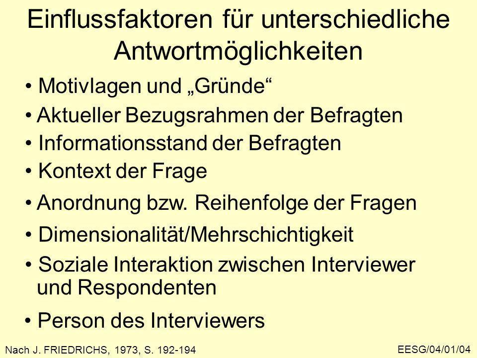 EESG/04/01/04 Einflussfaktoren für unterschiedliche Antwortmöglichkeiten Motivlagen und Gründe Aktueller Bezugsrahmen der Befragten Informationsstand der Befragten Kontext der Frage Anordnung bzw.