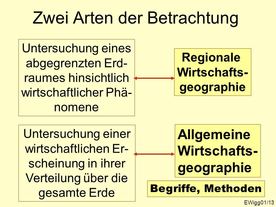 Zwei Arten der Betrachtung EWigg01/13 Untersuchung eines abgegrenzten Erd- raumes hinsichtlich wirtschaftlicher Phä- nomene Untersuchung einer wirtsch