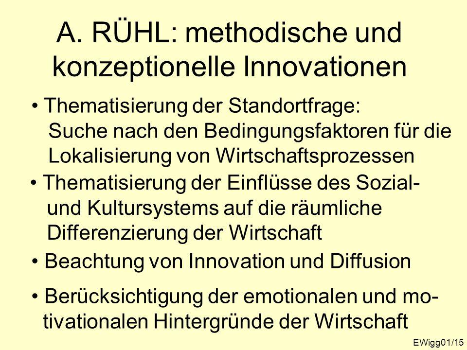 A. RÜHL: methodische und konzeptionelle Innovationen EWigg01/15 Thematisierung der Standortfrage: Suche nach den Bedingungsfaktoren für die Lokalisier