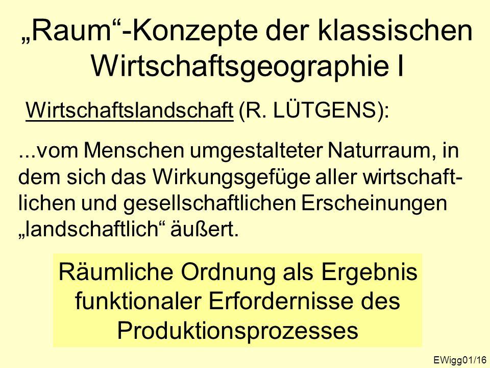 Raum-Konzepte der klassischen Wirtschaftsgeographie I EWigg01/16 Wirtschaftslandschaft (R. LÜTGENS):...vom Menschen umgestalteter Naturraum, in dem si