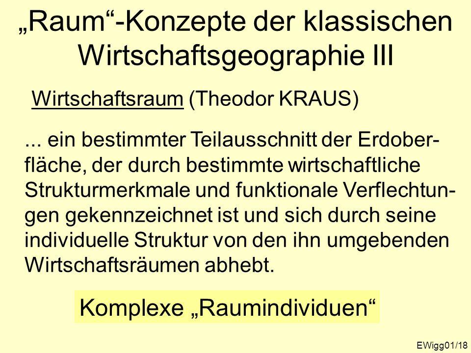 EWigg01/18 Raum-Konzepte der klassischen Wirtschaftsgeographie III Wirtschaftsraum (Theodor KRAUS)... ein bestimmter Teilausschnitt der Erdober- fläch