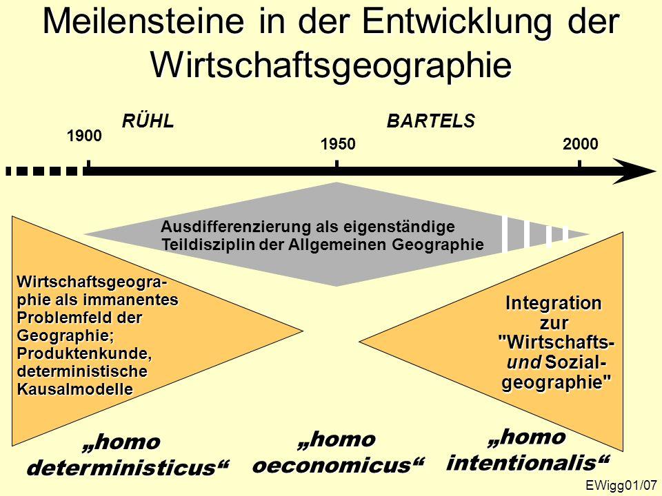 Die vorparadigmatische Phase der Wirtschaftsgeographie EWigg01/08 Produktenkunde Welche Bodenschätze gibt es wo, in welcher Menge, was wird wo angebaut, was wird wo produziert, abgesetzt, wo werden welche Pro- dukte konsumiert..., wie sehen die Handelsbe- ziehungen aus...