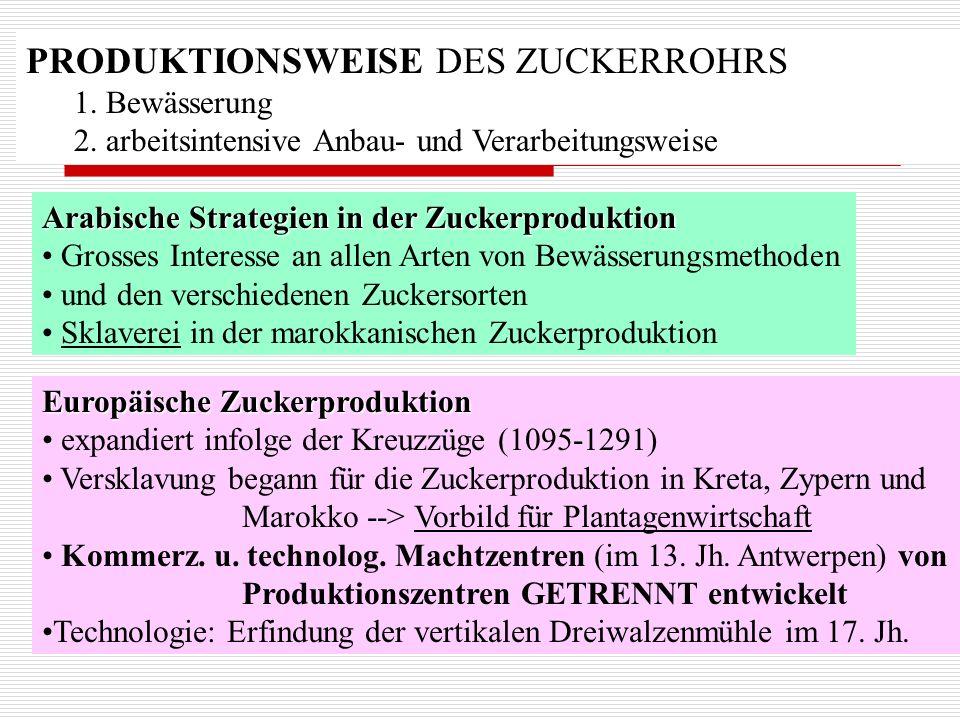 PRODUKTIONSWEISE DES ZUCKERROHRS 1. Bewässerung 2. arbeitsintensive Anbau- und Verarbeitungsweise Arabische Strategien in der Zuckerproduktion Grosses