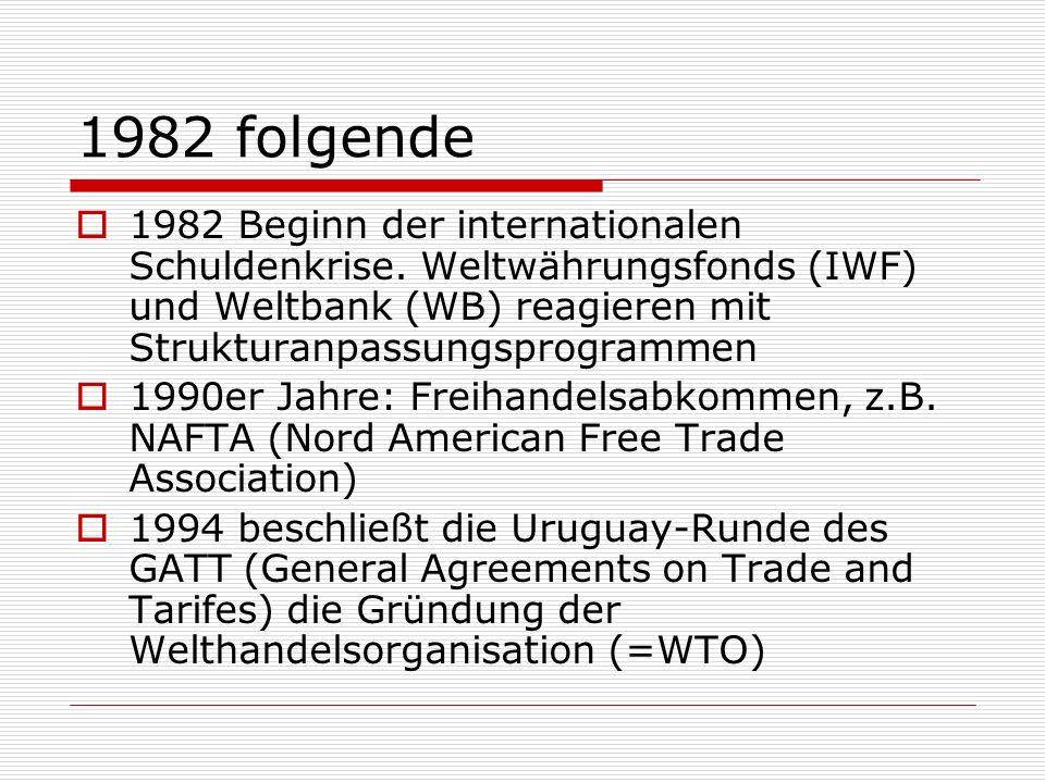 1982 folgende 1982 Beginn der internationalen Schuldenkrise. Weltwährungsfonds (IWF) und Weltbank (WB) reagieren mit Strukturanpassungsprogrammen 1990