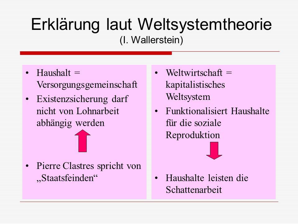 Erklärung laut Weltsystemtheorie (I. Wallerstein) Haushalt = Versorgungsgemeinschaft Existenzsicherung darf nicht von Lohnarbeit abhängig werden Pierr