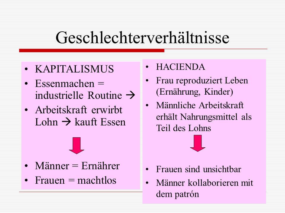 Geschlechterverhältnisse KAPITALISMUS Essenmachen = industrielle Routine Arbeitskraft erwirbt Lohn kauft Essen Männer = Ernährer Frauen = machtlos HAC