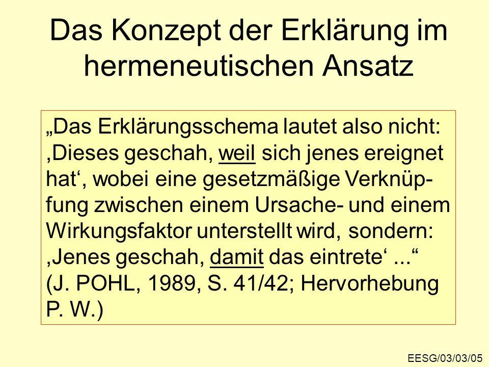 Das Konzept der Erklärung im hermeneutischen Ansatz EESG/03/03/05 Das Erklärungsschema lautet also nicht:,Dieses geschah, weil sich jenes ereignet hat, wobei eine gesetzmäßige Verknüp- fung zwischen einem Ursache- und einem Wirkungsfaktor unterstellt wird, sondern:,Jenes geschah, damit das eintrete...