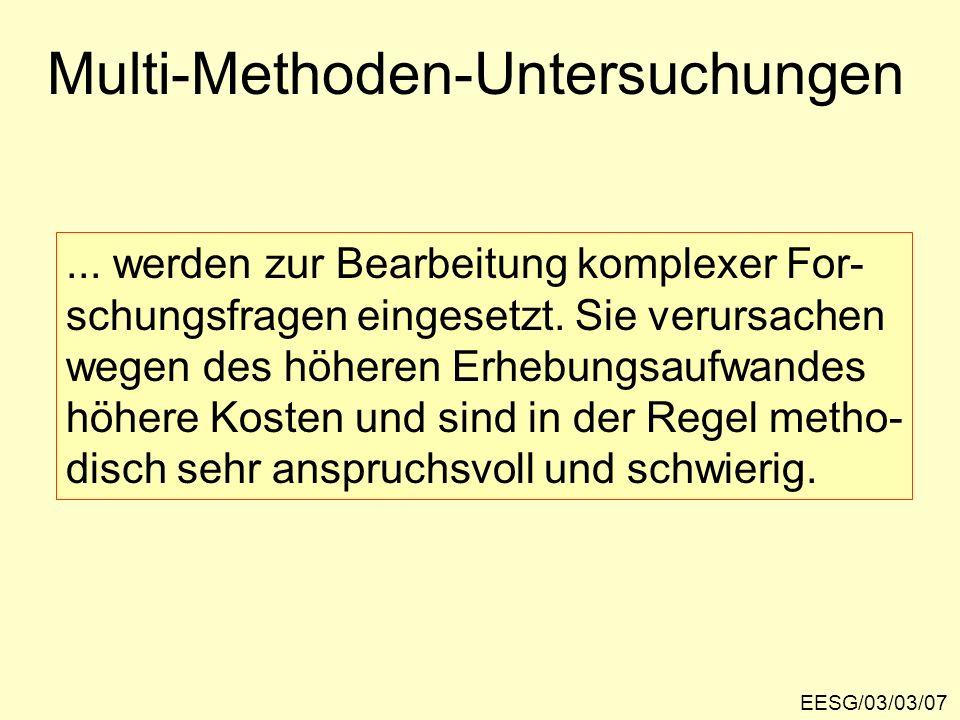 Realisierungsmöglichkeiten von Multi-Methoden-Untersuchungen EESG/03/03/08 z.