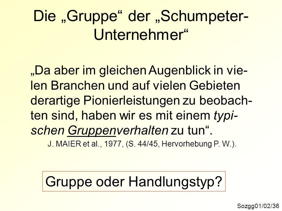 Sozgg01/02/36 Die Gruppe der Schumpeter- Unternehmer Da aber im gleichen Augenblick in vie- len Branchen und auf vielen Gebieten derartige Pionierleistungen zu beobach- ten sind, haben wir es mit einem typi- schen Gruppenverhalten zu tun.