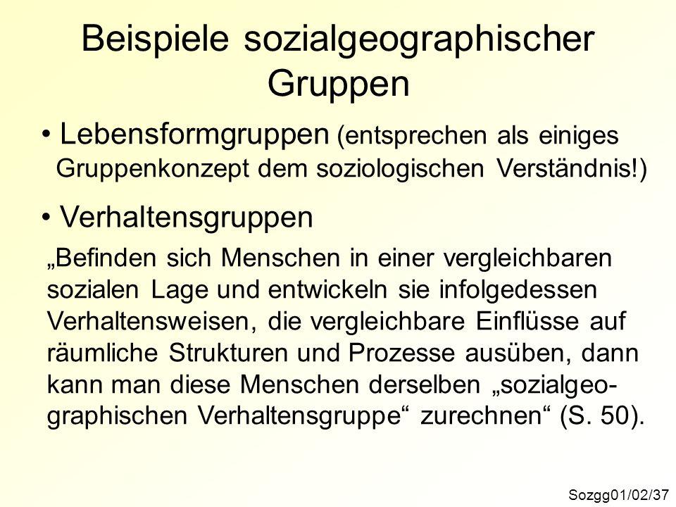 Beispiele sozialgeographischer Gruppen Sozgg01/02/37 Lebensformgruppen (entsprechen als einiges Gruppenkonzept dem soziologischen Verständnis!) Verhal