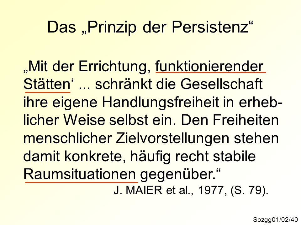 Prinzip der Persistenz Das Prinzip der Persistenz Sozgg01/02/40 Mit der Errichtung, funktionierender Stätten... schränkt die Gesellschaft ihre eigene