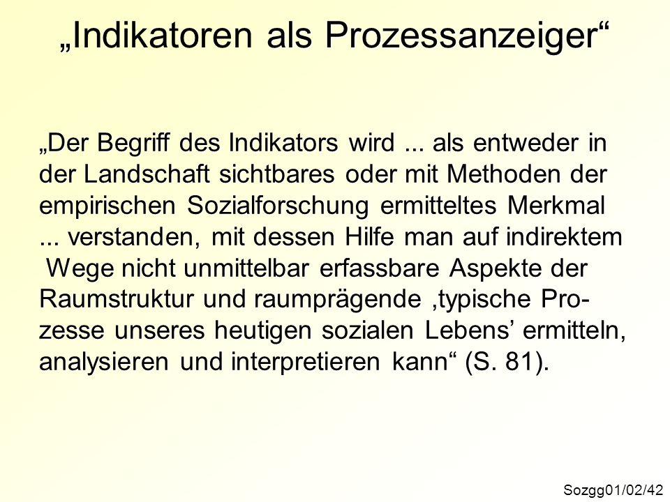 als ProzessanzeigerIndikatoren als Prozessanzeiger Sozgg01/02/42 Der Begriff des Indikators wird... als entweder in der Landschaft sichtbares oder mit
