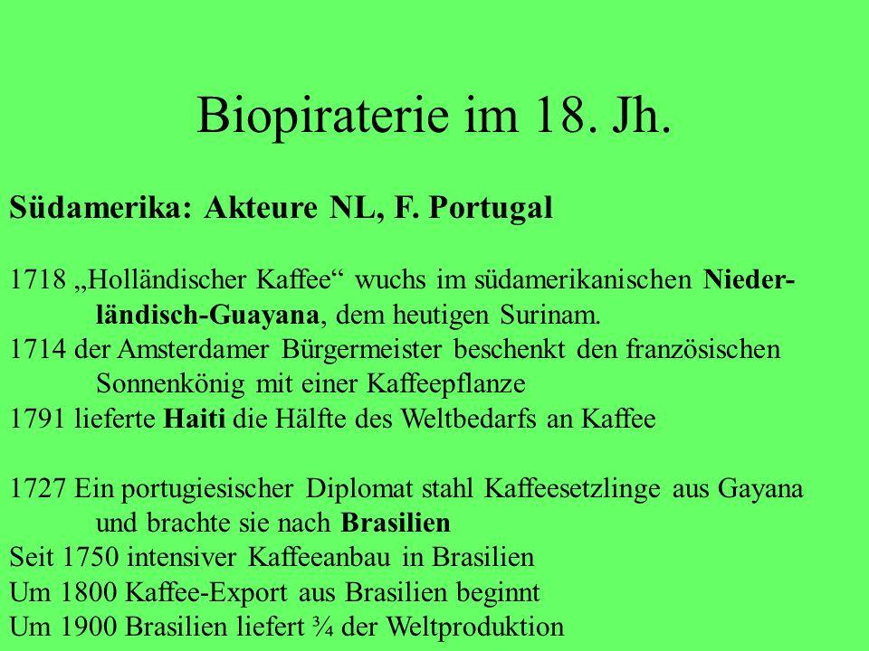 Biopiraterie im 18. Jh. Südamerika: Akteure NL, F. Portugal 1718 Holländischer Kaffee wuchs im südamerikanischen Nieder- ländisch-Guayana, dem heutige