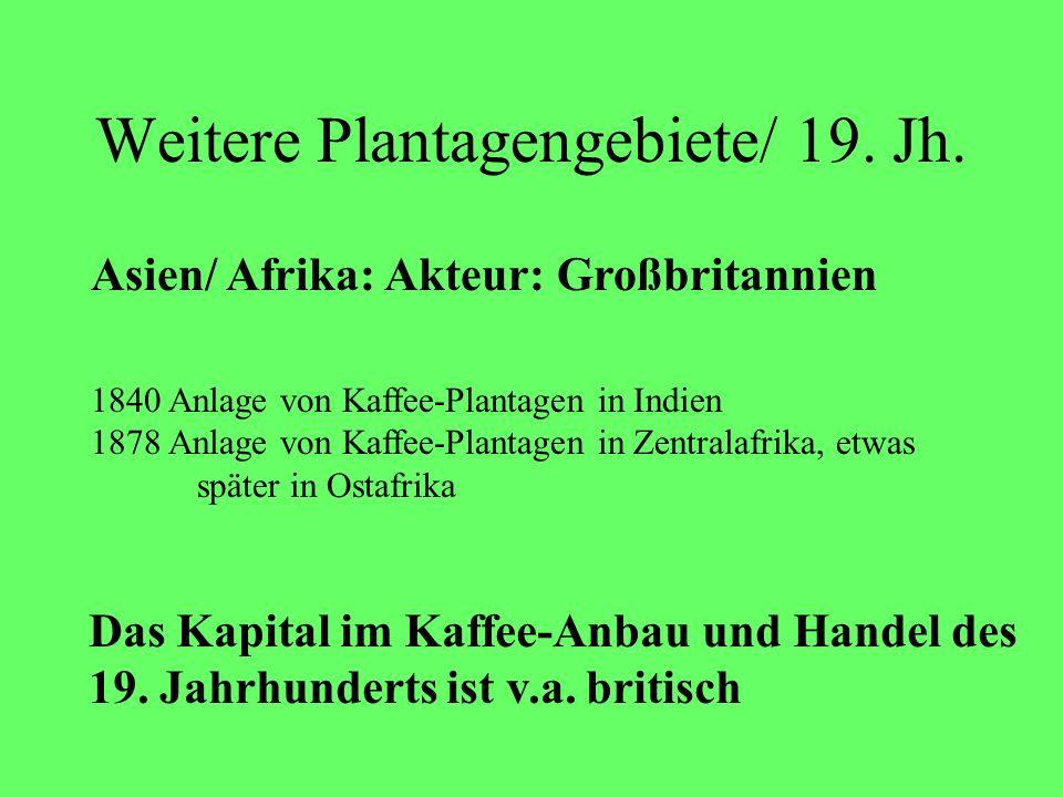 Weitere Plantagengebiete/ 19. Jh. 1840 Anlage von Kaffee-Plantagen in Indien 1878 Anlage von Kaffee-Plantagen in Zentralafrika, etwas später in Ostafr