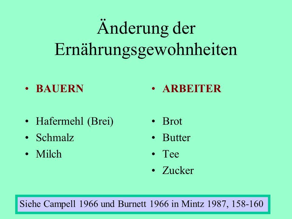 Änderung der Ernährungsgewohnheiten BAUERN Hafermehl (Brei) Schmalz Milch ARBEITER Brot Butter Tee Zucker Siehe Campell 1966 und Burnett 1966 in Mintz