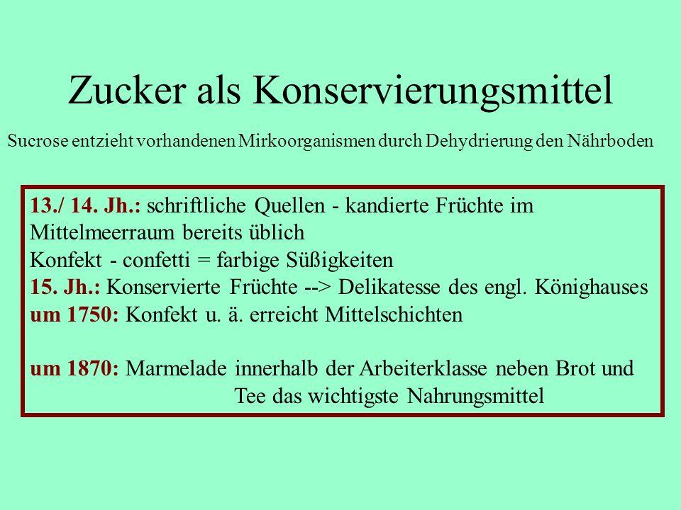 Zucker als Konservierungsmittel Sucrose entzieht vorhandenen Mirkoorganismen durch Dehydrierung den Nährboden 13./ 14. Jh.: schriftliche Quellen - kan