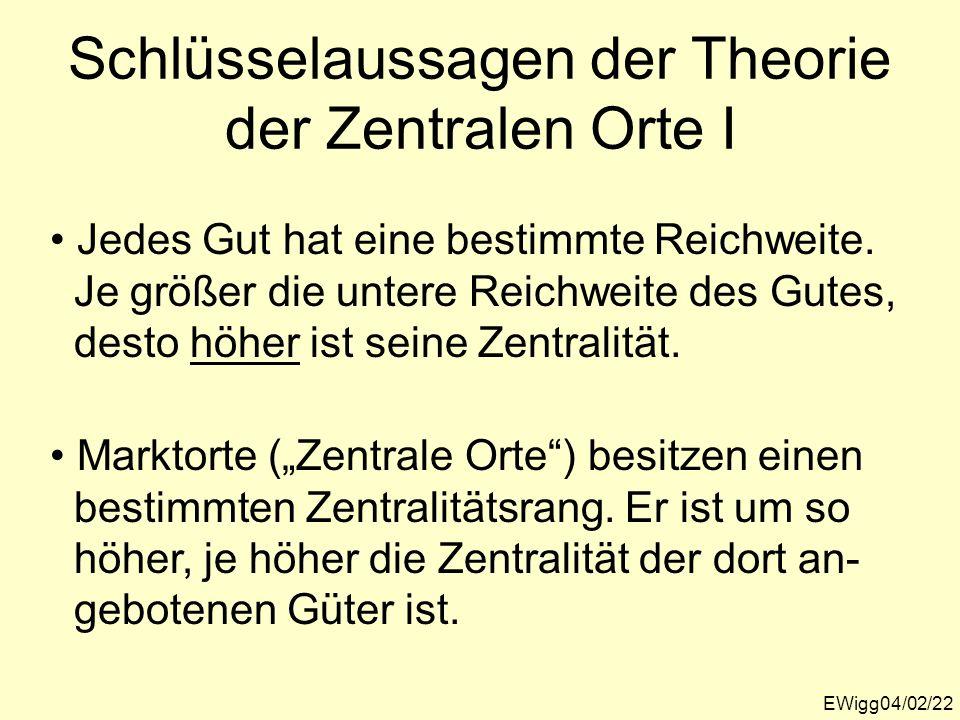 Schlüsselaussagen der Theorie der Zentralen Orte I EWigg04/02/22 Jedes Gut hat eine bestimmte Reichweite. Je größer die untere Reichweite des Gutes, d