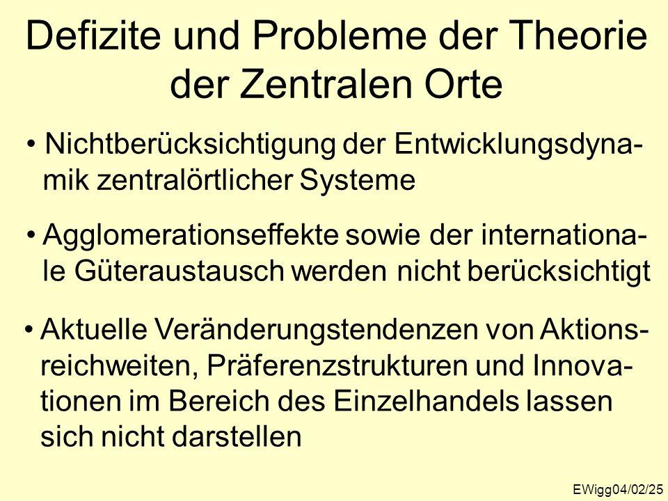 Defizite und Probleme der Theorie der Zentralen Orte EWigg04/02/25 Nichtberücksichtigung der Entwicklungsdyna- mik zentralörtlicher Systeme Agglomerat