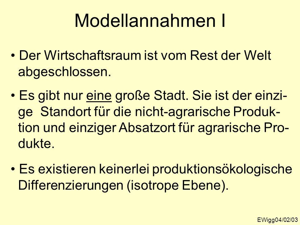 EWigg04/02/04 Modellannahmen II Die Transportkosten sind direkt proportional zur Entfernung des Produktionsstandortes vom Konsumort und dem Gewicht.