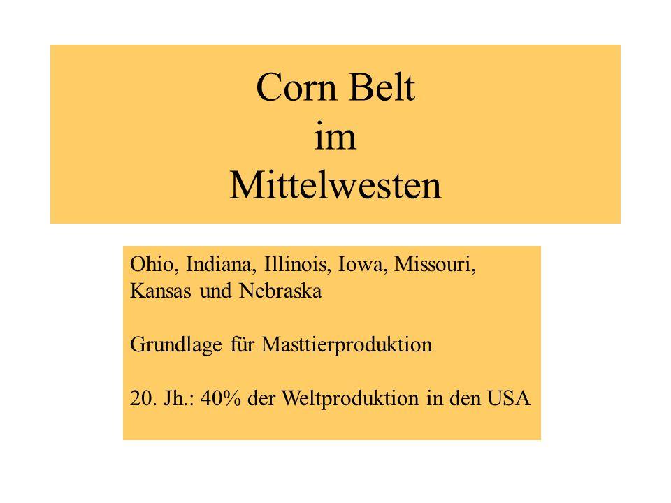 Corn Belt im Mittelwesten Ohio, Indiana, Illinois, Iowa, Missouri, Kansas und Nebraska Grundlage für Masttierproduktion 20. Jh.: 40% der Weltproduktio